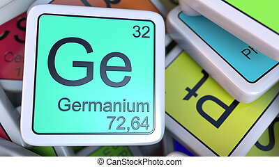 Germanium Ge block on the pile of periodic table of the chemical elements blocks. Chemistry related 3D rendering