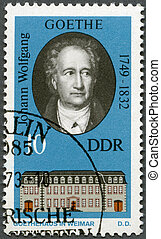 GERMANY - 1973: shows Goethe (1749-1832) and his Home in...