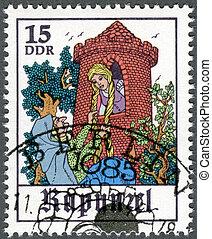 "GERMANY - 1978: shows Scene from fairy tale ""Rapunzel"" -..."
