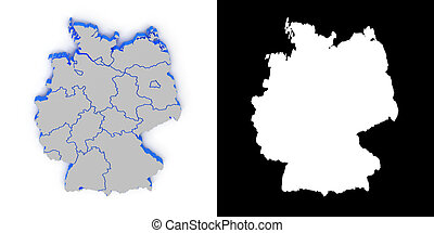 Germany 3D map with shadow.. Alpha channel. Perspective. CG.