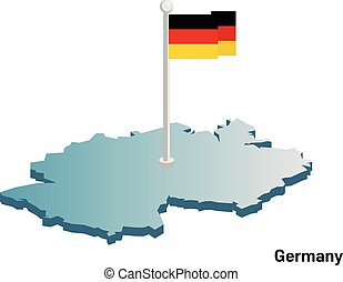 Germany 3d vector map with national flag