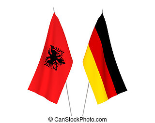 Germany and Albania flags - National fabric flags of Germany...