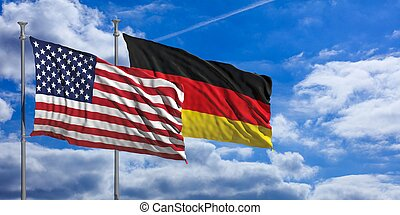 Germany and America waving flags on blue sky. 3d illustration