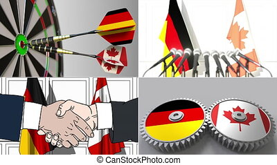 Germany and Canada cooperation. Conceptual animation montage...