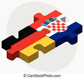 Germany and Croatia Flags in puzzle isolated on white...