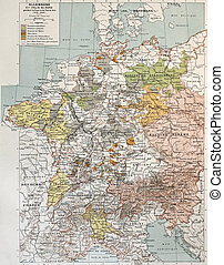 Germany and Northern Italy during Thirty Years War, old map....
