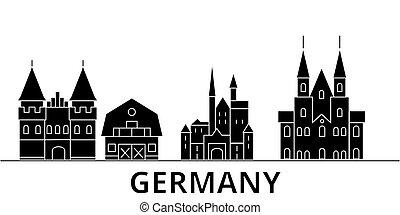 Germany architecture vector city skyline, travel cityscape...