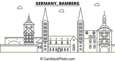 Germany, Bamberg line skyline vector illustration. Germany,...