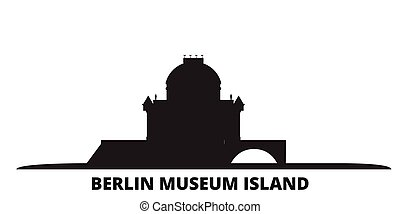 Germany, Berlin, Museum Island city skyline isolated vector ...