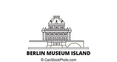 Germany, Berlin, Museum Island line travel skyline set. ...