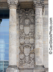 GERMANY, BERLIN - OCTOBER 02, 2016: Reichstag building in Berlin, Germany. Dedication on the frieze means To the German people.