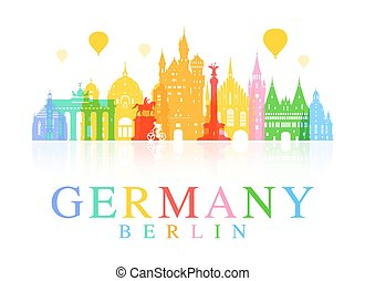 Germany, Berlin travel landmark. Vector and Illustration