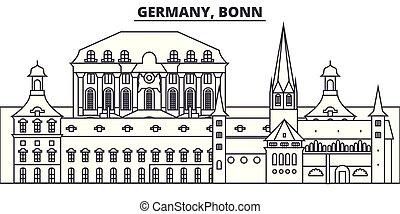 Germany, Bonn line skyline vector illustration. Germany, Bonn linear cityscape with famous landmarks, city sights, vector landscape.