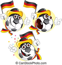 Germany cartoon ball - Cartoon football character emotions-...