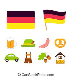 Germany cartoon icons set