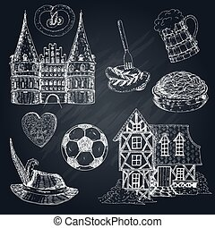 Germany Chalkboard Icon Set