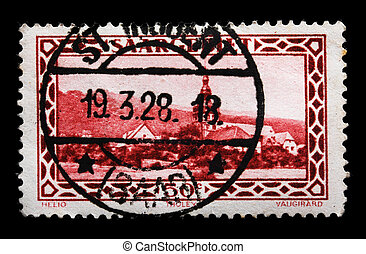 GERMANY - CIRCA 1927: A German Used Postage Stamp showing Saargebiet Tholey, circa 1927