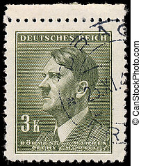 GERMANY - CIRCA 1942: A stamp printed in The Protectorate Czech and Moravia shows portrait of Adolf Hitler, series, circa 1942