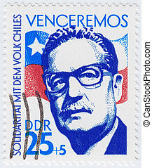 GERMANY - CIRCA 1983 : stamp printed in Germany showing Salvador Allende 29th President of Chile, circa 1983
