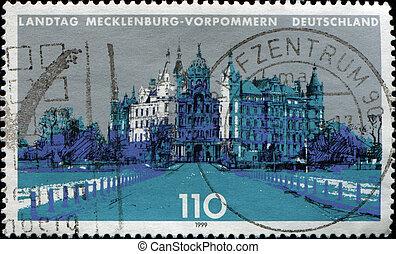 GERMANY- CIRCA 1999: A stamp printed in German Federal Republic shows Mecklenburg-Western Pomerania Parliament, circa 1999