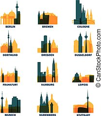 Germany cities icons set skyline vector logo pack