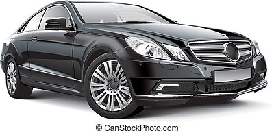 Detail vector image of black Germany luxury coupe, isolated on white background. File contains gradients, blends and transparency. No strokes. Easily edit: file is divided into logical layers and groups.