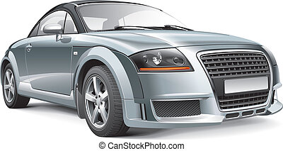 Detail vector image of Germany compact sport coupe, isolated on white background. File contains gradients, blends and transparency. No strokes. Easily edit: file is divided into logical layers and groups.