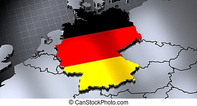 Germany - country borders and flag - 3D illustration