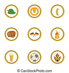 Germany country icon set, cartoon style