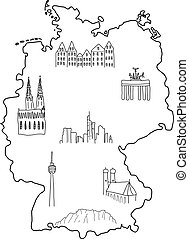 Germany - doodle map with famous places: Berlin, Hamburg, Cologne, Frankfurt, Stuttgart, Munich and Alps
