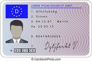 Germany driver license card, cartoon style