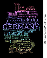 Germany - outline map made of city names. German concept in...