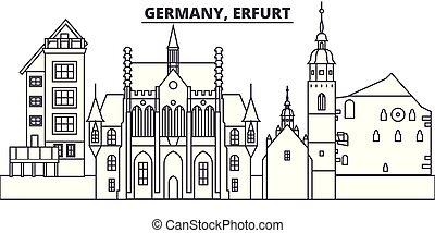 Germany, Erfurt line skyline vector illustration. Germany,...