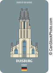 germany., européen, église, architectural, villes, sauveur, notre, duisburg, symboles