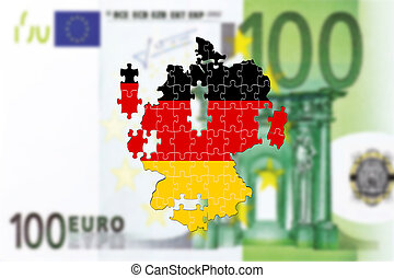 Germany falling apart on 100 euro bankote