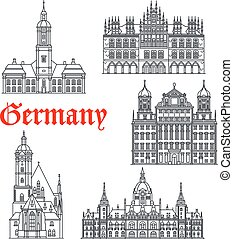 Germany famous architecture buildings vector icons