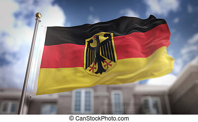 Germany Flag 3D Rendering on Blue Sky Building Background
