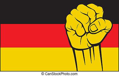 germany), (flag, alemanha, punho