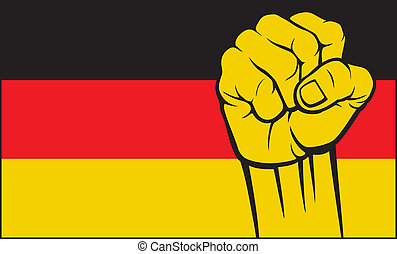 germany), (flag, allemagne, poing