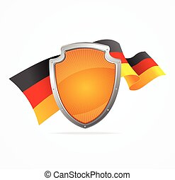 Germany Flag and Shield. Vector