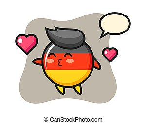 Germany flag badge character cartoon with kissing gesture