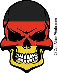 Germany flag colors on danger skull