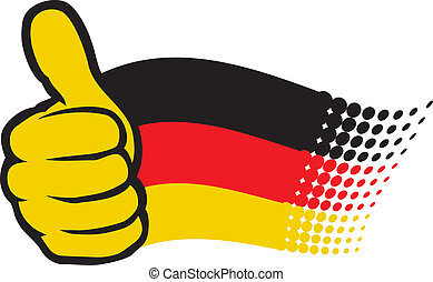 Germany flag. Hand showing thumbs up