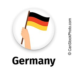 Germany flag in hand, round icon