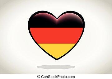 Germany Flag in Heart Shape.