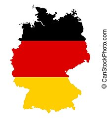Germany flag in silhouette of the country