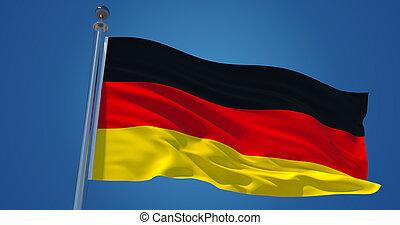 Fluttering silk flag of Germany. Deutchland official flag in the wind against clear blue sky. 3d render