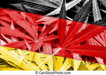 Germany Flag on cannabis background. Drug policy. ...