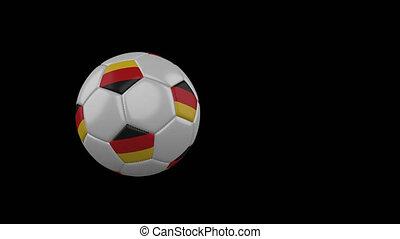 Germany flag on flying soccer ball on transparent background, alpha channel