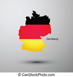 Germany flag on map of country